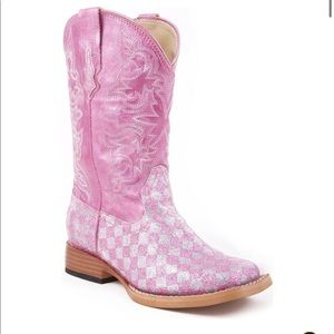 Roper Girls Size 10 Pink Sparkley Cowgirl boots.